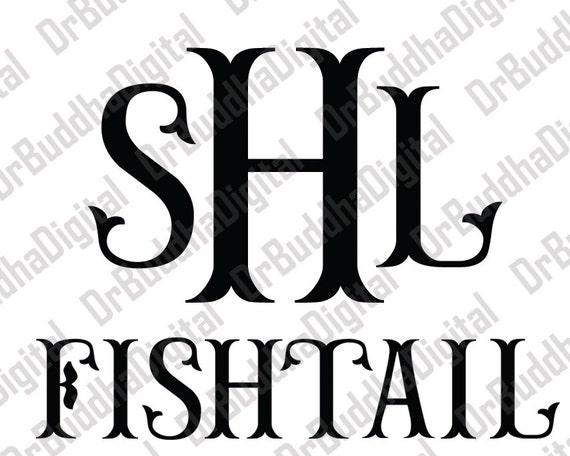 sale fishtail monogram font svg collection fishtail