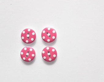 Hot Pink Polka Dot Button - Craft Buttons, Sewing button, Painted Buttons for Scrapbooking, Cardmaking, Paper Craft - Shankless Wood Button