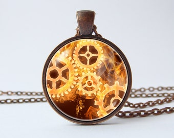 Gears necklace Mechanisms Steampunk pendant Punk jewelry Gears pendant Steampunk necklace Sci Fi jewelry Science pendant Men pendant Unique