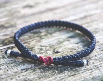 Black Mens friendship bracelet / Custom bracelet / Graduation gift / Silver bracelet men / Handmade UK / harbourjewelleryuk / gift for him