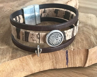 Cork and Indian Chief leather Cuff Bracelet