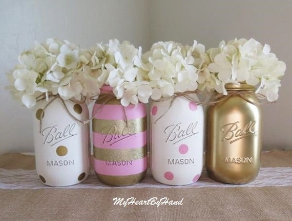 Nice Pink And Gold Baby Shower Decorations Baby Shower Mason Jars