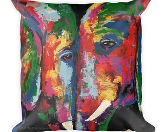 Elephant Love Square Pillow