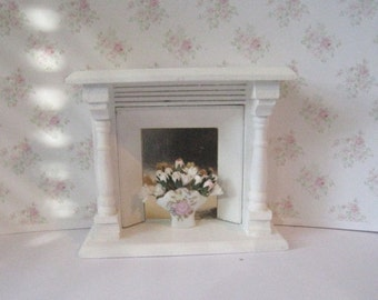 Dollhouse Fireplace,  white fireplace, fireplace,  living room, dollshouse, miniature,  a dollhouse miniature in twelfth scale