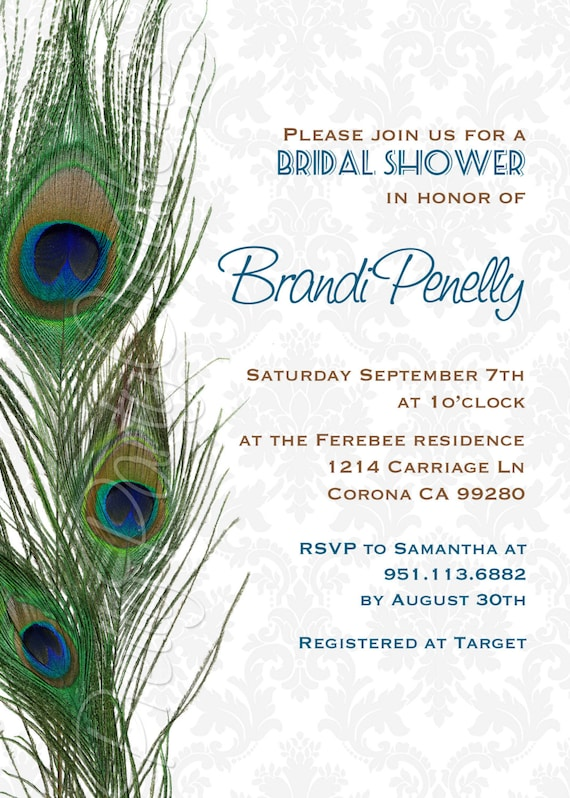 Damask Peacock Feathers Invitation Birthday Shower You