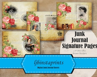 Female Novelists Junk Journal Kit, DIY Junk Journal Signature Cover Pages, Vintage Junk Journal, Instant Download