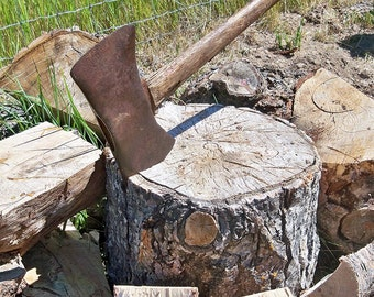 Old Rustic Two-Sided Axe Ready for a Farmhouse or Lodge Decor