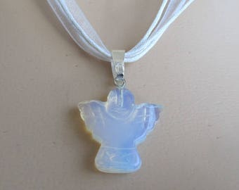 Hand carved OPALITE-gemstone-Angel-pendant- choice of necklace-healing stone-special gift for that special person-SA8