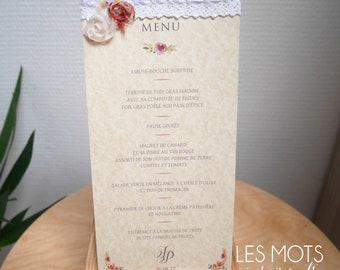 Rustic wedding menu / baptism craft with lace