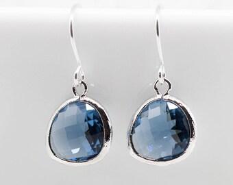 Earrings Silver Blue Navy dark blue