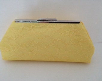 Yellow Lace Clutch Purse with Silver Tone  Finish Snap Close Frame