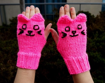 Pink Knit Cat Fingerless Gloves - Bright Pink Knitted Cat Gloves - Vegan Animal Fingerless Gloves - Knit Animal Gloves Knit Pink Cat Gloves