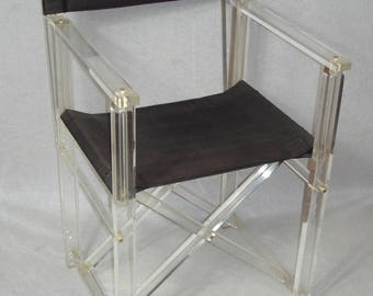 70s Acrylic Folding Chair, Designer Plexiglas Chair, Director's Chair, w/ black fabric, Mid Century Modern