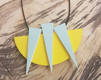 Geometric necklace, minimalist necklace, yellow necklace, statement necklace, easter women gift, geometric pendant necklace, free shipping