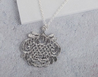 Silver oriental inspired filigree lace pendant necklace, silver filigree necklace, silver pendant, sterling silver jewellery, wedding gift