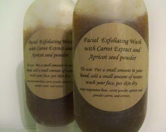 Facial Exfoliating Wash with carrot extract and apricot seed powder