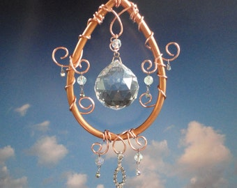 "Crystal Sculpture, Mobile, Home Decor, New Age Decor, Window Hanging, Sun Catcher, Ornament, Metaphysical, Garden Art, ""Moon Drop"""