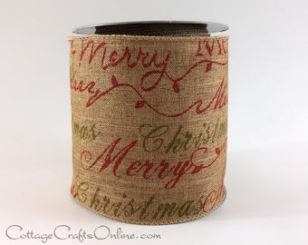 "Christmas Wired Ribbon 4"" wide, Merry Christmas Print Dark Brown Heather, TEN YARD ROLL,  d. stevens ""Merry Dark #1009"" Wire Edge Ribbon"