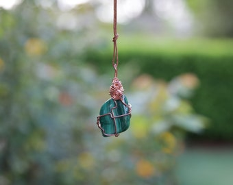 Malachite Crystal Necklace with Copper Wire