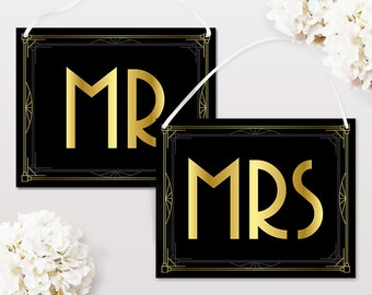 Mr and Mrs signs for chairs, Printable wedding sign in art deco style, Great Gatsby wedding decorations, Mrs and Mrs sign instant download
