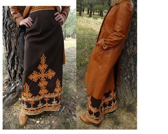 1970s beautiful Braided  hippie chic  MAXI GYPSY Skirt  // size small