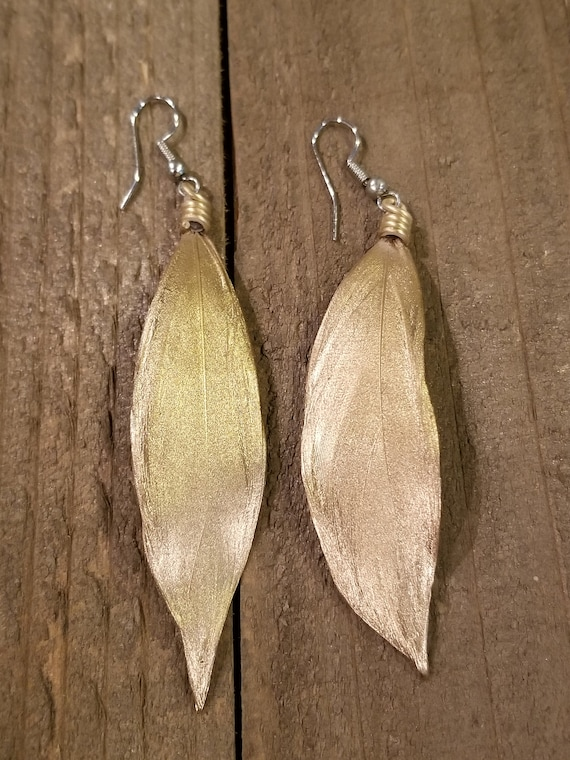 Gold Dipped Feather Earrings Drop Down Dangle Native American Earth Jewelry Hippie Boho Natural Style (E111)