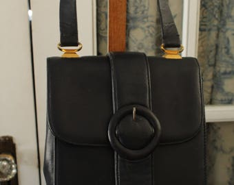 1970's Navy Blue Leather Handbag