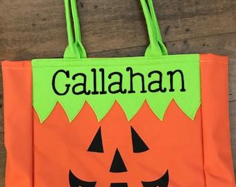 Jack O Lantern bag - Halloween bag - Trick or Treat basket - Personalized Halloween Tote