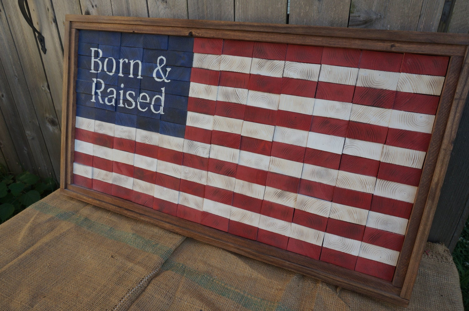 End Cut Rustic American Flag / Hand Made Born & Raised framed flag ...