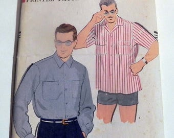 """1950s Mens Shirt Sport short long sleeve Rockabilly casual sewing pattern Vogue 9366 Size Large Neck 16 16.5"""""""