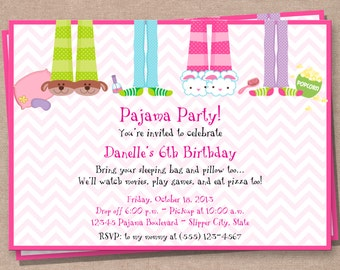 Pajama Party Invitation - Sleepover Invitation - Birthday Invitation - Girls Birthday Invitation - Sleepover Printable Invitation - DIY