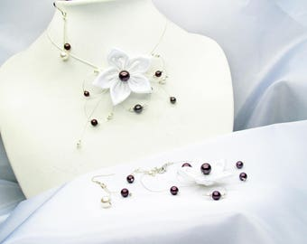 Rebirths, wedding dress, wedding necklace pearls and burgundy swarovski set white flower wedding bridal wedding set