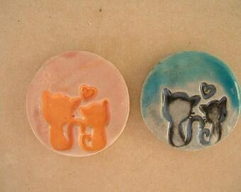 Cabochons 3 cm glazed ceramic cats