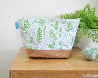 Fern Cork Wash bag, Vegan Leather Bag, Vegan Leather Clutch, Toiletry Bag, Nappy Bag, Cosmetic Bag, Cork Leather, Zipper Bag, Floral Gift