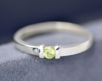 Peridot Ring Silver, August Birthstone Ring, Peridot Jewelry, Green Gemstone, August Gemstone Ring, August Birthstone, Gift For Her