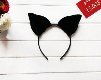 Cat Ears, Halloween Costume, Halloween ears, Costume ears, Black Ears, Velvet Cat Ears, Ears Headband, Kitten Ears, Party Ears, Cosplay Ears
