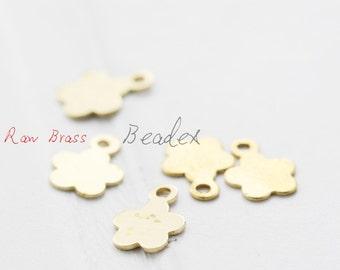 100 Pieces / Raw Brass / Brass Base /  Flower / Charm 6.5x8.5mm (C1850//S116)