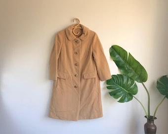Vintage Knee Length Camel Wool Coat