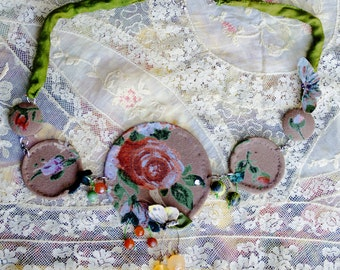 Necklace in fabric and stones: Joy of July