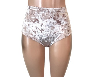 Dusty Pink Crushed Velvet High Waisted Hot Pants - Booty Shorts - Bikini Bottom - club or rave wear - Crossfit - Running
