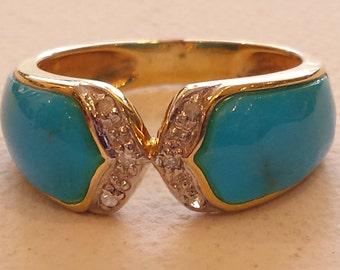 14 K yellow gold turquoise diamond ring