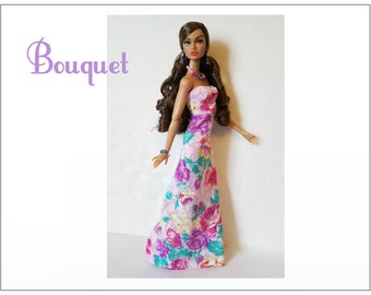 Poppy Parker Doll Clothes - BOUQUET Lavender Gown and Jewelry Set - Custom Fashion - by dolls4emma