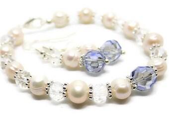 Bridal jewellery set - something blue - wedding bracelet - wedding earrings - wedding jewelry - bridal bracelet - bridal earrings - pearl