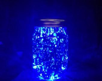light up blue mason jar