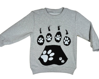 Sweatshirt, cotton, gray, dog's paws, sizes 6 months - 5 years, for a girl, for a boy,