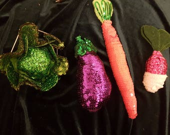 Veggies fruits and animals with sequins. Just contact via email and ask :)