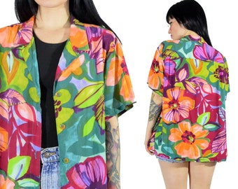 vintage 90s floral blouse pastel shirt slouchy oversized grunge button up tropical beachwear beachy 1990s top medium large