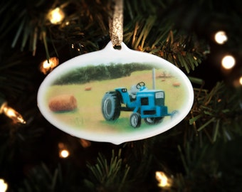 Farm Christmas Ornament ~ Porcelain Tractor Gift ~ FREE SHIPPING