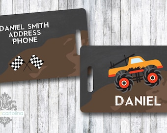 Luggage Tag | Personalized Bag/Luggage Tag | Kids Backpack Tag | Diaper Bag Tag | Custom Bag Tag | Travel Accessory | Monster Truck
