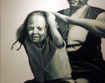 Original Oil painting - mother - daughter